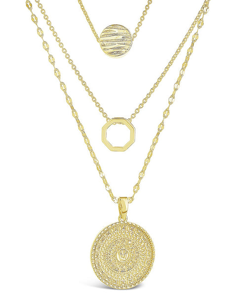 Textured Disc Layered Chain Necklace Necklace Sterling Forever Gold