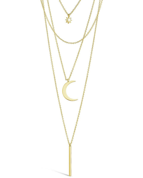 Crescent & Bar Multi Layer Necklace Necklace Sterling Forever Gold