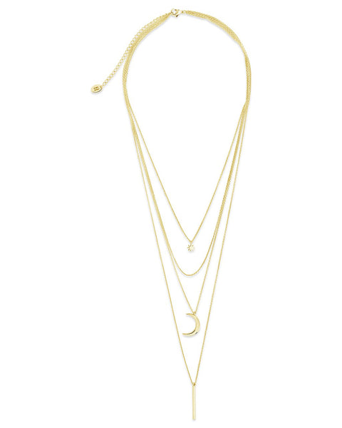Crescent & Bar Multi Layer Necklace