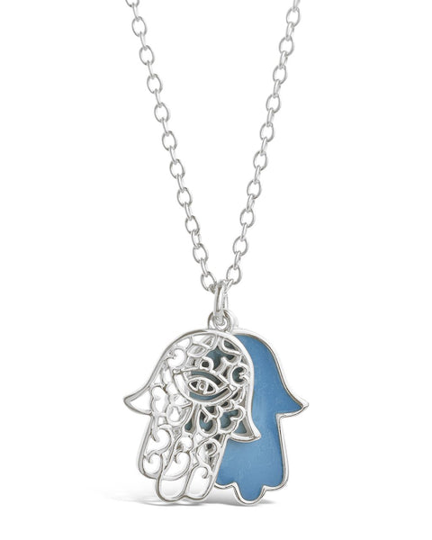 Window Hamsa Pendant Necklace Necklace Sterling Forever Silver Teal