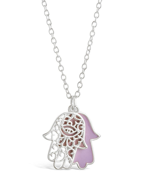 Window Hamsa Pendant Necklace Necklace Sterling Forever Silver Lavender