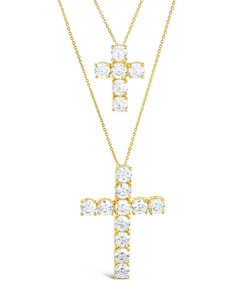 CZ Cross Pendant Necklace Set Necklace Sterling Forever Gold