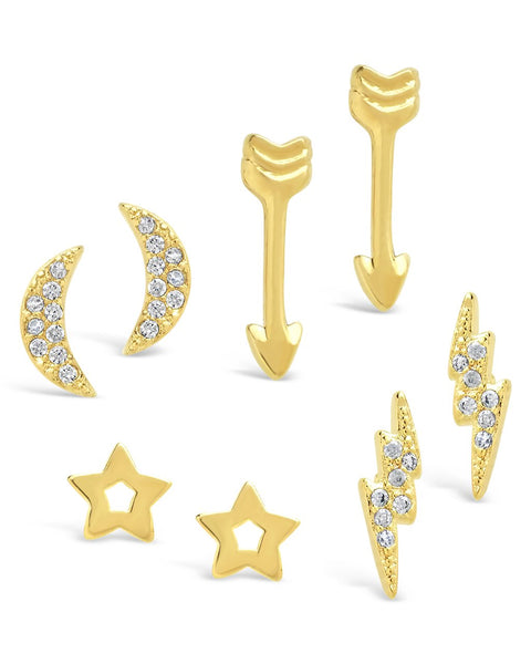 14K Gold Plated Pave CZ Star, Lightning Bolt, Moon, & Arrow Stud Earrings Set