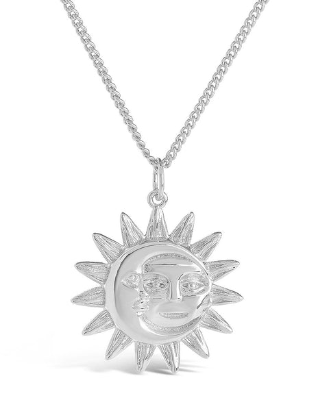 Moon & Sun Face Pendant Necklace Necklace Sterling Forever Silver
