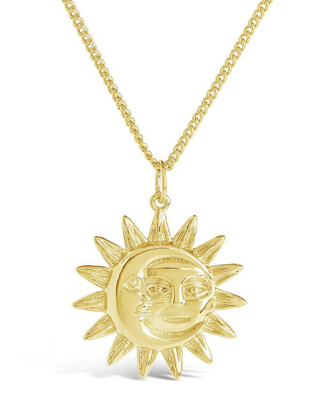 Moon & Sun Face Pendant Necklace Necklace Sterling Forever Gold