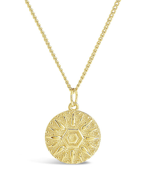 Sun Disk Pendant Necklace Necklace Sterling Forever Gold