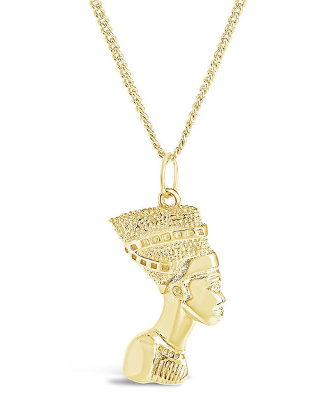 Egyptian Pharaoh Bust Pendant Necklace Necklace Sterling Forever Gold