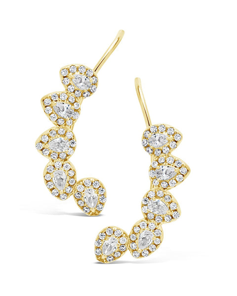 Pear-Cut CZ Ear Crawlers Earring Sterling Forever Gold