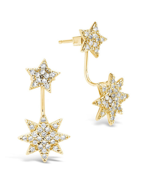 CZ Starburst Jacket Earrings