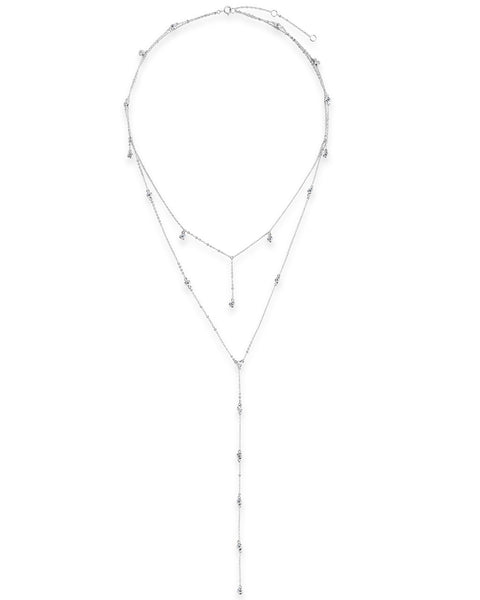 Layered CZ Station Y-Necklace Necklace Sterling Forever Silver