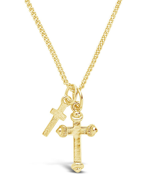 Gold Double Cross Pendant Necklace