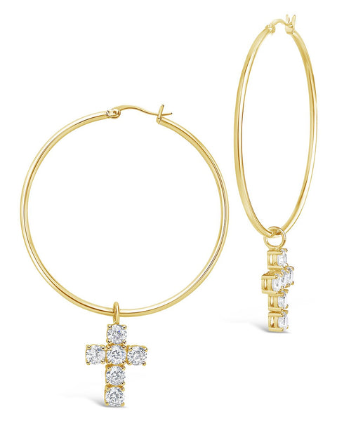 Pave CZ Dangling Cross 50mm Hoop Earrings