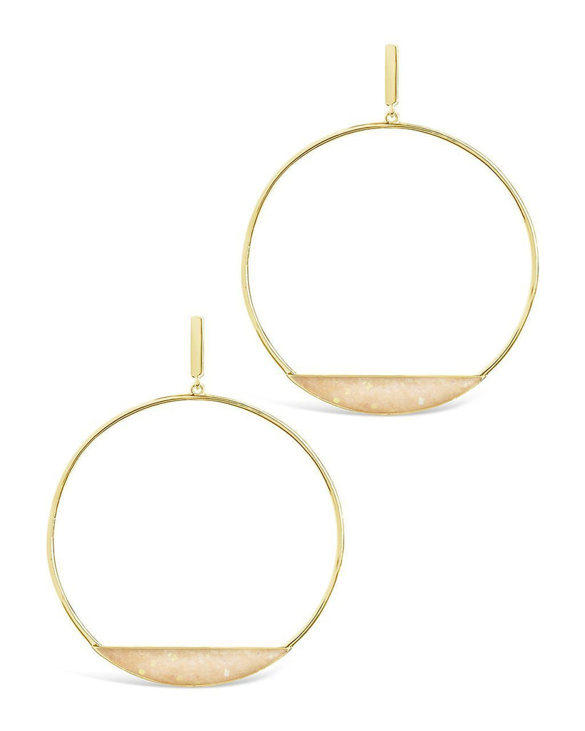 Circle Stud Hoop Earrings - Sterling Forever