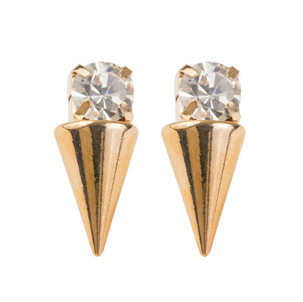 Spiked Stud Earring with CZ Earring Sterling Forever Gold