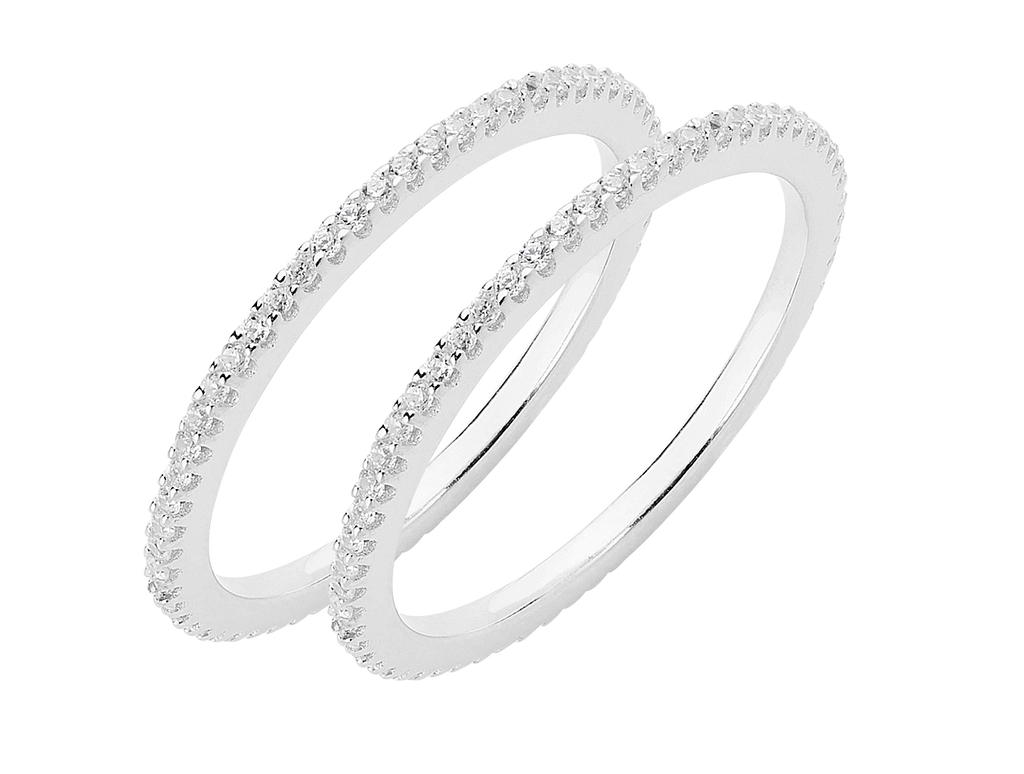 Two Thin Sterling Silver CZ Band Rings