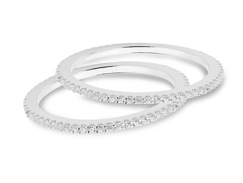 cfe70c5ba Two Thin Sterling Silver CZ Band Rings. jEmail us about this product. share  it!