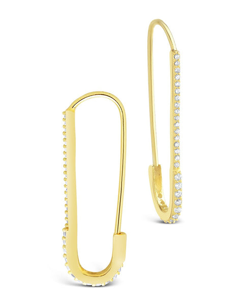 CZ Safety Pin Dangle Earrings Earring Sterling Forever Gold