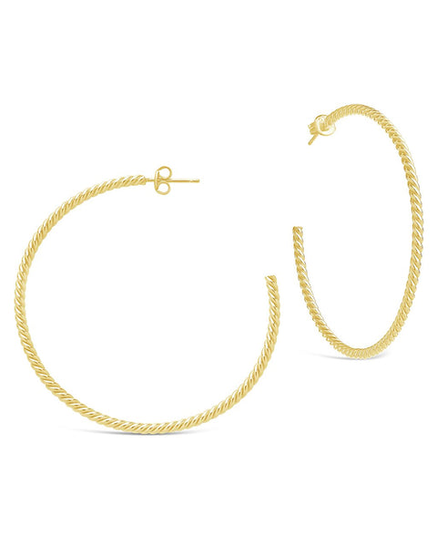 Gold Plated Rope Twist Hoops