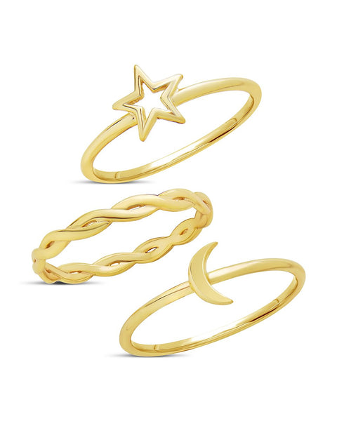 14K Gold Vermeil Celestial Stacking Ring Set