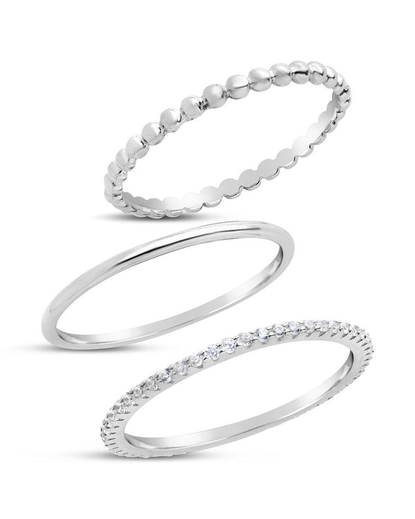 Sterling Silver Dainty 3pc CZ Stacking Ring Set - Sterling Forever