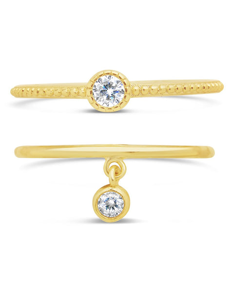 14K Gold Vermeil Delicate Bezel Stacking Ring Set