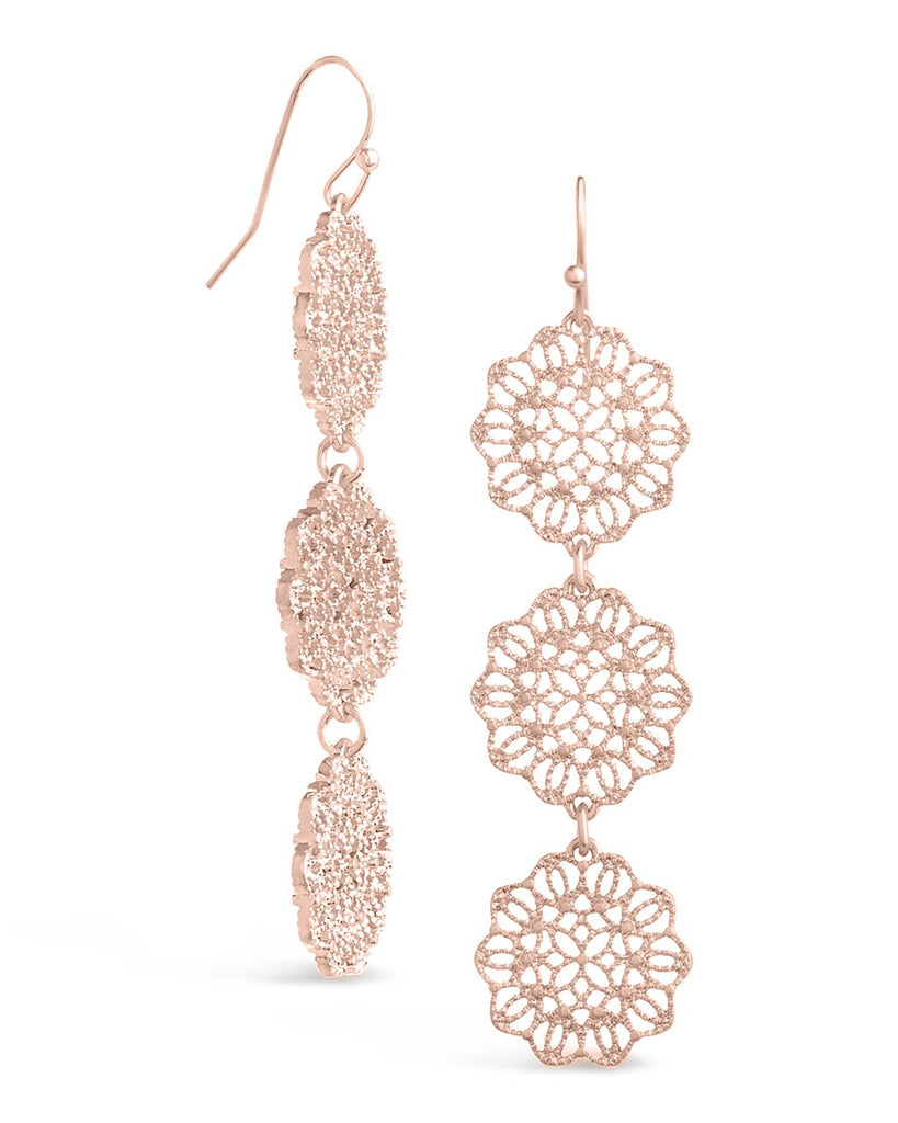 Intricate Filigree Disk Dangle Earrings - Sterling Forever
