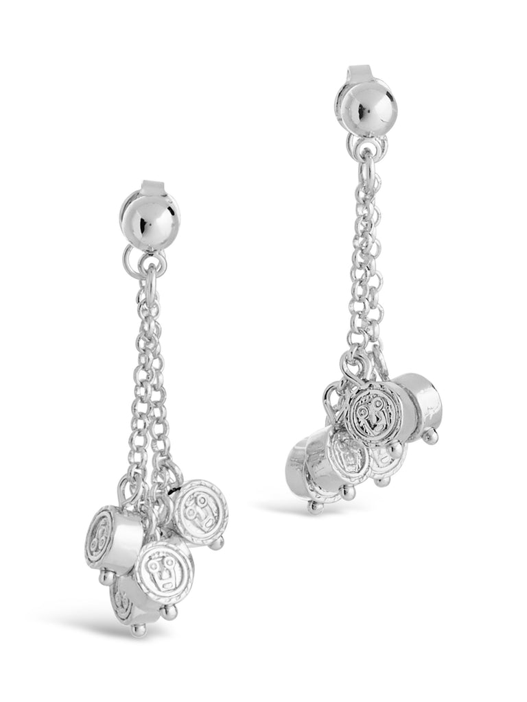 Beaded Medallion Chain Studs - Sterling Forever