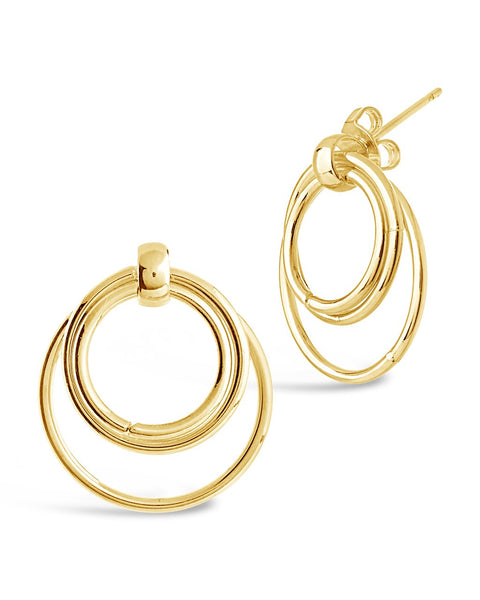 Linked Hoop Stud Earrings