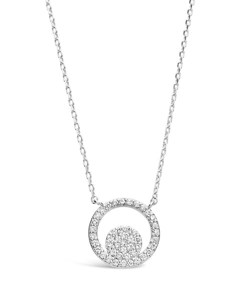Sterling Silver CZ Circle Pendant Necklace