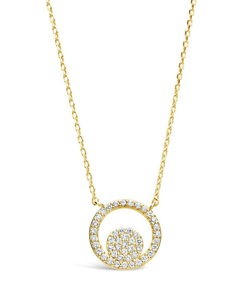 Sterling Silver CZ Circle Pendant Necklace Necklace Sterling Forever Gold