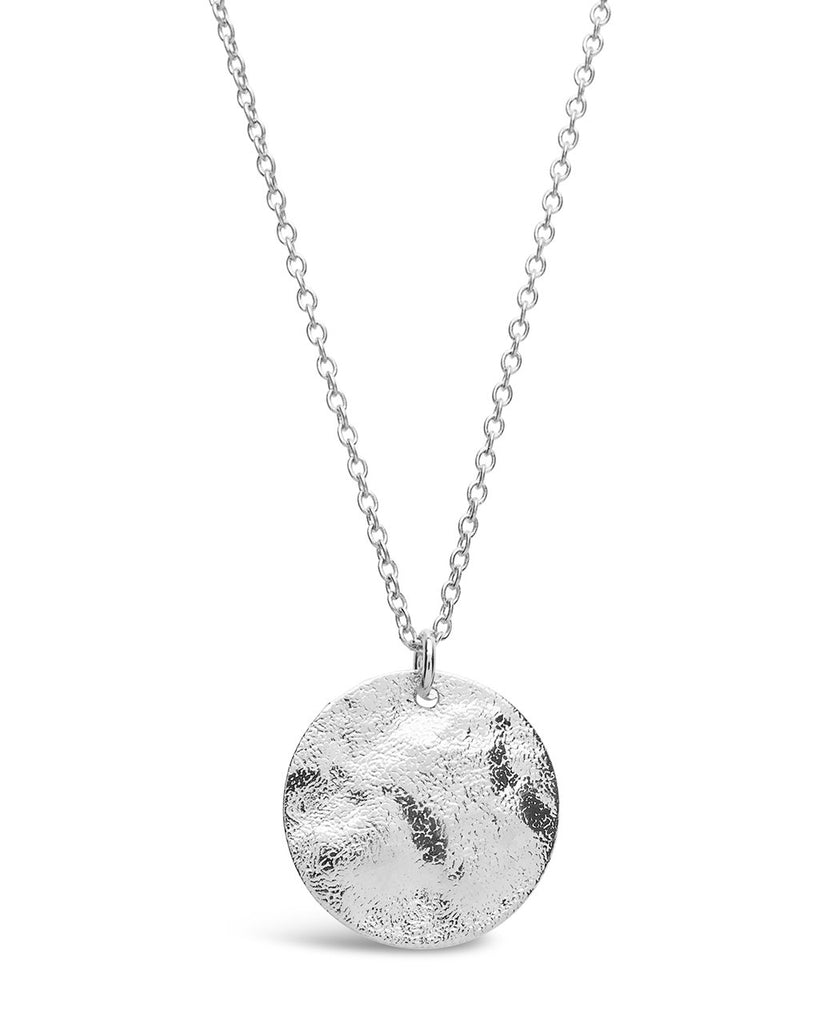Sterling Silver Textured Wave Disk Necklace - Sterling Forever