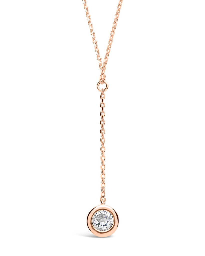 Sterling Silver CZ Y Drop Necklace - Sterling Forever