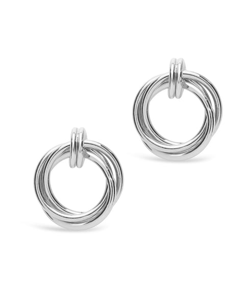 Sterling Silver Linked Circle Stud Earrings