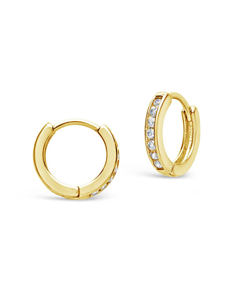 Sterling Silver CZ Micro Hoop Earrings