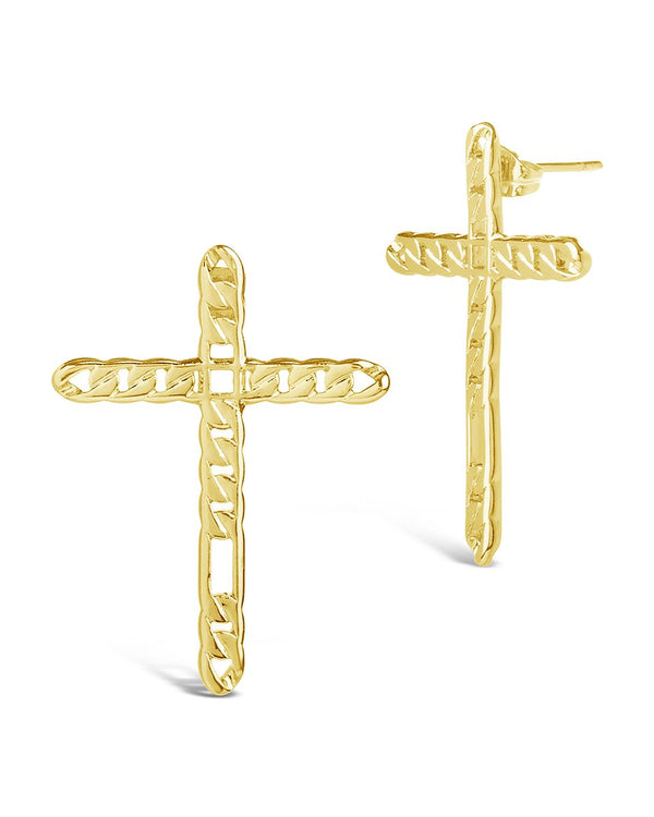 Linked Cross Earrings - Sterling Forever