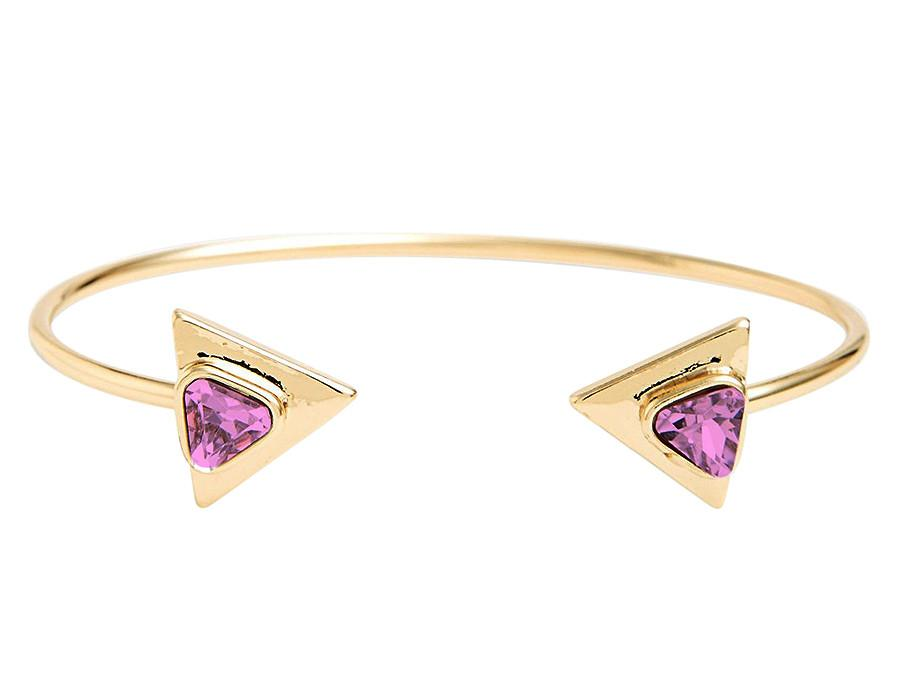 Gold Tone Pink CZ Triangle Open Cuff