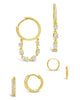 CZ Dangle Hoop Earring Set of 3
