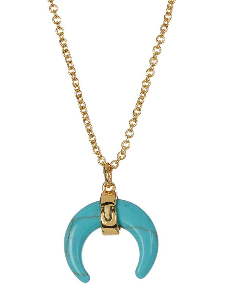 Turquoise Stone Horn Pendant Necklace