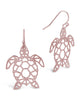Sterling Silver Cutout Turtle Dangle Earrings - Sterling Forever