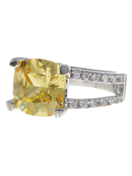 Sterling Silver Britney's Engagement Ring in Canary - Sterling Forever
