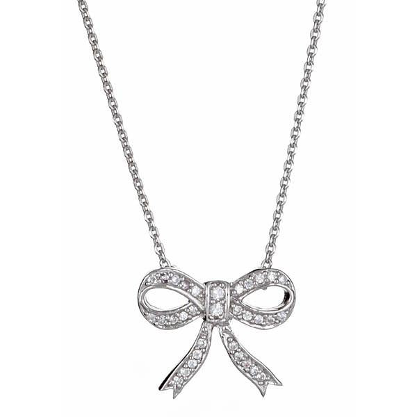 Sterling Silver CZ Bow Pendant Necklace Necklace Sterling Forever White