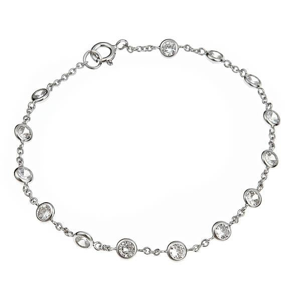 Sterling Silver CZ by the Yard Bracelet