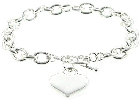 Heavy Gauge Heart Tag Bracelet in Sterling Silver