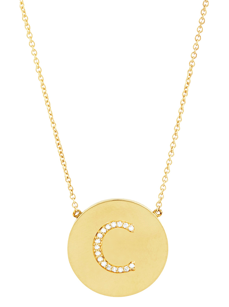 14K Gold Vermeil CZ Round Initial Necklace - Sterling Forever