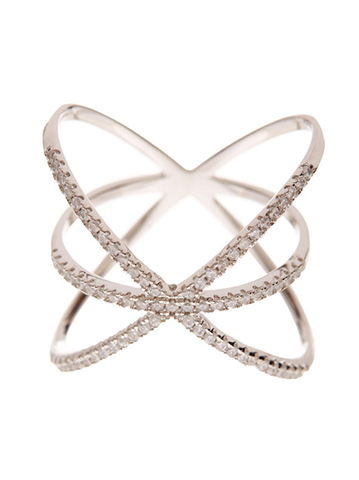Sterling Silver CZ Criss Cross X Ring - Sterling Forever
