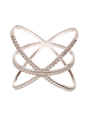 Sterling Silver CZ Criss Cross X Ring