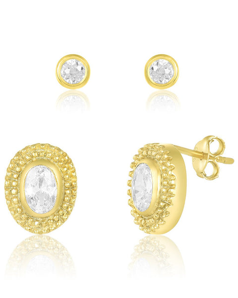 Embellished CZ Stud Set of 2 Earring Sterling Forever Gold