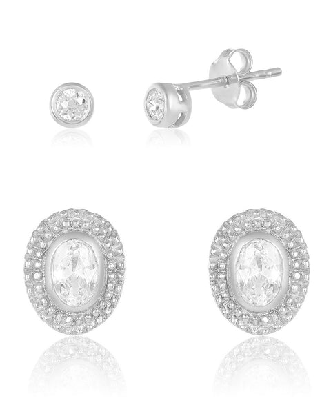 Embellished CZ Stud Set of 2 Earring Sterling Forever Silver