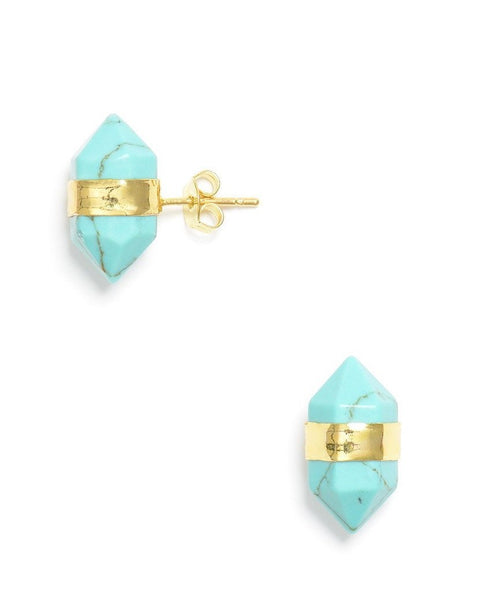 Gold Banded Aqua Stud Earrings