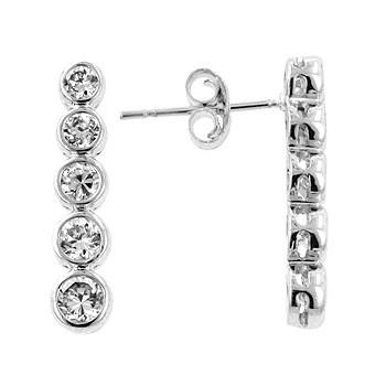 Sterling Silver Sparkling Bezel Set CZ Teardrop Earrings